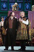 """London, UK. 30 January 2015. Gwyn Hughes Jones as Walter von Stolzing and James Cresswell as Veig Pogner. Richard Wagner's opera """"The Mastersingers of Nuremberg"""" (Die Meistersinger von Nuernberg) is performed live on stage during the dress rehearsal with English National Opera Music Director Edward Gardner leading the ENO Orchestra and Chorus. Directed by Richard Jones with with leads played by Gwyn Hughes Jones as Walter von Stolzing, Rachel Nicholls as Eva Pogner, Madeleine Shaw as Magdalene, Nicky Spence as David (Hans Sachs' apprentice), Iain Paterson as Hans Sachs, Andrew Shore as Sixtus Beckmesser and James Creswell as Veit Pogner. The opera will run for 8 performances at the London Coliseum from 7 February 2015. Photo: Bettina Strenske"""