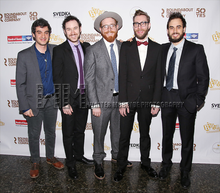 The Band attends 'The Robber Bridegroom' Off-Broadway Opening Night performance press reception at Laura Pels Theatre on March 13, 2016 in New York City.