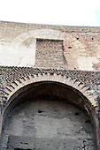 Brickwork in the upper structure of the interior of the Colosseum, also known as the Flavian Amphitheatre, in Rome, Italy on Friday, May 25, 2012..Credit: Ron Sachs / CNP