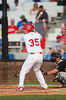 Riley Drongesen (35) of the Johnson City Cardinals at bat against the Bristol Pirates at Howard Johnson Field at Cardinal Park on July 6, 2015 in Johnson City, Tennessee.  The Pirates defeated the Cardinals 2-0 in game one of a double-header. (Brian Westerholt/Four Seam Images)