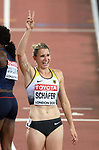 Carolin Scaafer (GER) celebrates her silver medal at the end of her 800m in the womens heptathlon. IAAF world athletics championships. London Olympic stadium. Queen Elizabeth Olympic park. Stratford. London. UK. 06/08/2017. ~ MANDATORY CREDIT Garry Bowden/SIPPA - NO UNAUTHORISED USE - +44 7837 394578