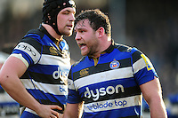 Nathan Catt of Bath Rugby shouts out encouragement to his team-mates during a break in play. Aviva Premiership match, between Bath Rugby and Harlequins on February 18, 2017 at the Recreation Ground in Bath, England. Photo by: Patrick Khachfe / Onside Images