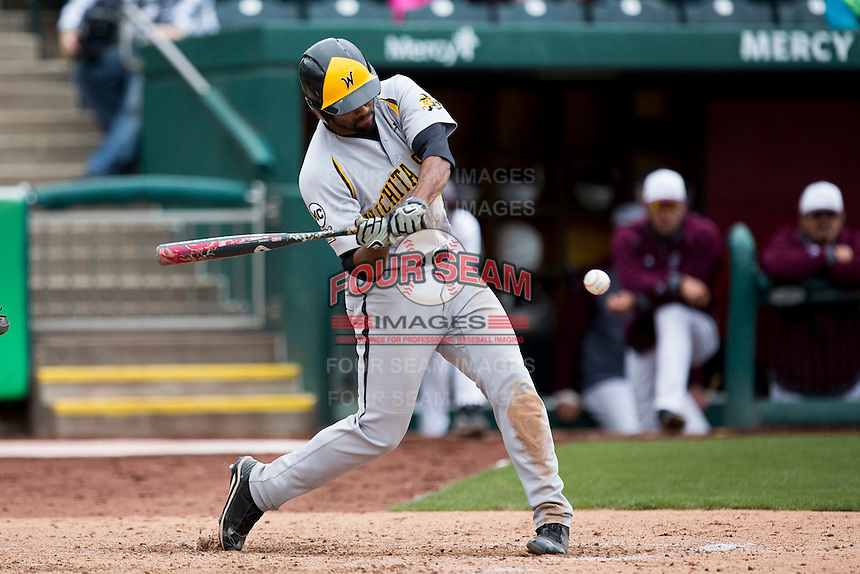 Micah Green #32 of the Wichita State Shockers swings at a pitch during a game against the Missouri State Bears at Hammons Field on May 5, 2013 in Springfield, Missouri. (David Welker/Four Seam Images)