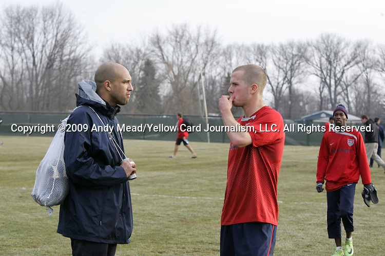 09 February 2009: Goalkeeper Tim Howard (left), midfielder Michael Bradley (center) and midfielder DaMarcus Beasley (right). The United States Men's National Team held a training session at the Columbus Crew Training Facility in Obetz, Ohio in preperation for a FIFA 2010 World Cup Qualifier.
