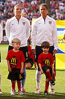 22 MAY 2010:  USA's Hope Solo #1 and USA's Shannon Boxx #7 with young soccer fans prior to the International Friendly soccer match between Germany WNT vs USA WNT at Cleveland Browns Stadium in Cleveland, Ohio on May 22, 2010.