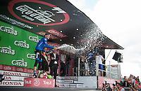 stage winner Alexander Foliforov (RUS/Gazprom-Rusvelo) having a champaign moment<br /> <br /> stage 15 (iTT): Castelrotto-Alpe di Siusi 10.8km<br /> 99th Giro d'Italia 2016