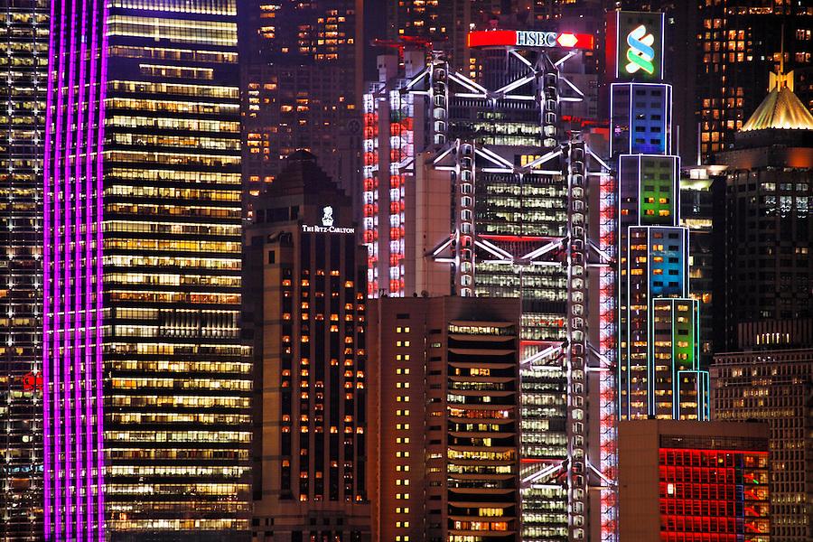 Lighted skyscrapers in Hong Kong skyline, Hong Kong SAR, China, Asia