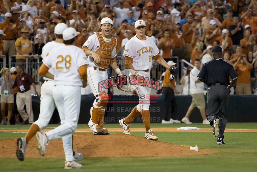 Texas Longhorns celebrate beating Arizona State Sun Devils in NCAA Tournament Super Regional Game #3 and are headed to Omaha for the College World Series on June 12, 2011 at Disch Falk Field in Austin, Texas. (Photo by Andrew Woolley / Four Seam Images)