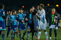 Wycombe Wanderers players celebrate at full time of the Sky Bet League 2 match between Newport County and Wycombe Wanderers at Rodney Parade, Newport, Wales on 22 November 2016. Photo by Mark  Hawkins.