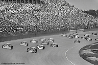 BROOKLYN, MI - JULY 18: The start of the 1976 USAC Champ Car race on July 18, 1976, at the Michigan International Speedway near Brooklyn, Michigan.