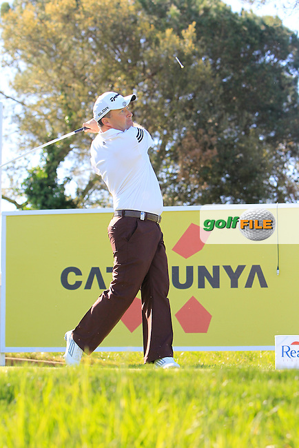 Damien McGrane (IRL) on the 13th tee during Thursday's Round 1 of The Open De Espana at The PGA Catalunya Resort. 15th May 2014.<br /> Picture:  Thos Caffrey / www.golffile.ie