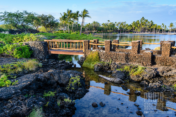 A peaceful scene at one of the many resort areas in Waikoloa Village, Kohala District of the Big Island.