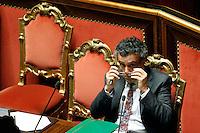 IL MINISTRO PER LA COESIONE TERRITORIALE FABRIZIO BARCA .Roma 22/12/2011 Senato. Voto di Fiducia sulla Manovra Economica.Votation at Senate about austerity plan. .Photo Samantha Zucchi Insidefoto