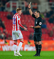 4th November 2019; Bet365 Stadium, Stoke, Staffordshire, England; English Championship Football, Stoke City versus West Bromwich Albion; Sam Clucas of Stoke City receives a yellow card - Strictly Editorial Use Only. No use with unauthorized audio, video, data, fixture lists, club/league logos or 'live' services. Online in-match use limited to 120 images, no video emulation. No use in betting, games or single club/league/player publications