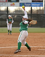 NWA Democrat-Gazette/BEN GOFF @NWABENGOFF<br /> McKennah Sikes pitches for Van Buren Thursday, March 16, 2017, during the softball game against Bentonville at Bentonville's Tiger Athletic Complex.