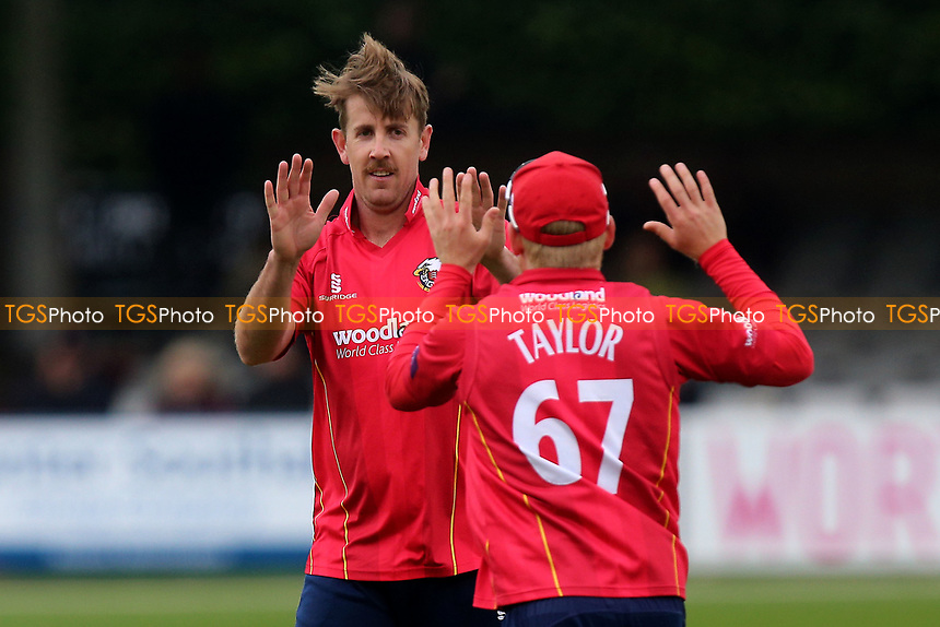 Matt Quinn of Essex celebrates taking the wicket of Jack Taylor during Essex Eagles vs Gloucestershire, Royal London One-Day Cup Cricket at The Cloudfm County Ground on 4th May 2017