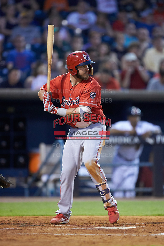 D.J. Peterson (34) of the Louisville Bats at bat against the Toledo Mud Hens at Fifth Third Field on June 16, 2018 in Toledo, Ohio. The Mud Hens defeated the Bats 7-4.  (Brian Westerholt/Four Seam Images)