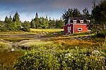 A red boathouse at Crockett Cove, Stonington, ME, USA
