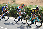 Antwan Tolhoek (NED) Lotto NL-Jumbo and Bob Jungels (LUX) Quick-Step Floors on the front of the peloton during Stage 13 of the 2017 La Vuelta, running 198.4km from Coin to Tomares, Seville, Spain. 1st September 2017.<br />