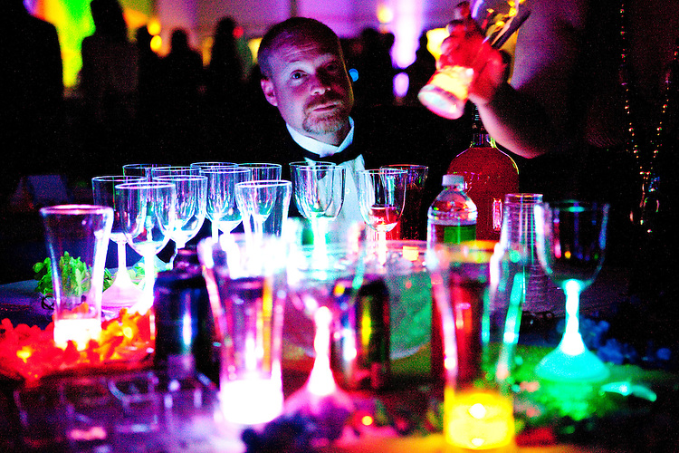 Glow in the dark glasses and cups were prevalent at the Krewe of Orpheus' ball, held at the Castine Center in Mandeville, Louisiana (a suburb of New Orleans) on February 6, 2010.
