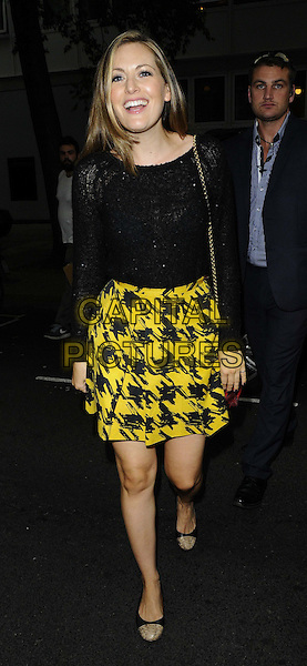 Olivia Lee<br /> The KEY Fashion new online fashion boutique launch party, Vanilla, London, England.<br /> September 25th, 2013<br /> full length black top lace yellow kilt skirt houndstooth dogtooth print<br /> CAP/CAN<br /> &copy;Can Nguyen/Capital Pictures
