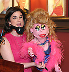 Veronica J. Kuehn and Lucy the Slut during The 69th Annual Outer Critics Circle Awards Dinner at Sardi's on May 23, 2019 in New York City.
