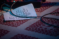 "Turquoise Boy's setlist for the release party for the band's first album ""24 Hours a Night"" at Williwaw. Photo by James R. Evans"