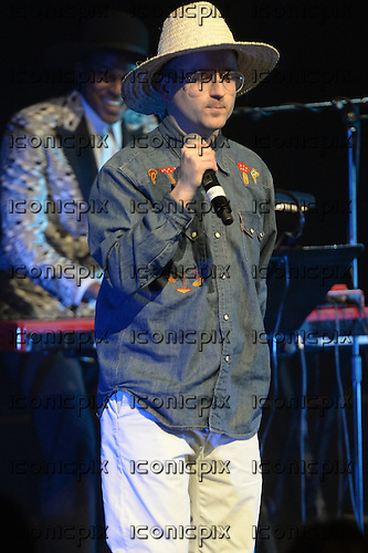 Ahmed Ghallab and Alexis Taylor (Hot Chip) - performing live Atomic Bomb: Who Is William Onyeabor at the Barbican Hall in London UK - 01 April 2014. Photo credit: George Chin/IconicPix