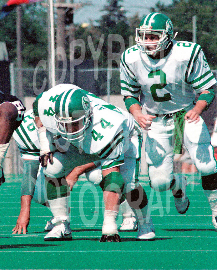 Roger Aldag and Greg Fieger(2) Saskatchewan Roughriders. Copyright photograph Scott Grant