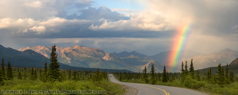 Rainbow over the Alaska mountain range in Denali National Park.