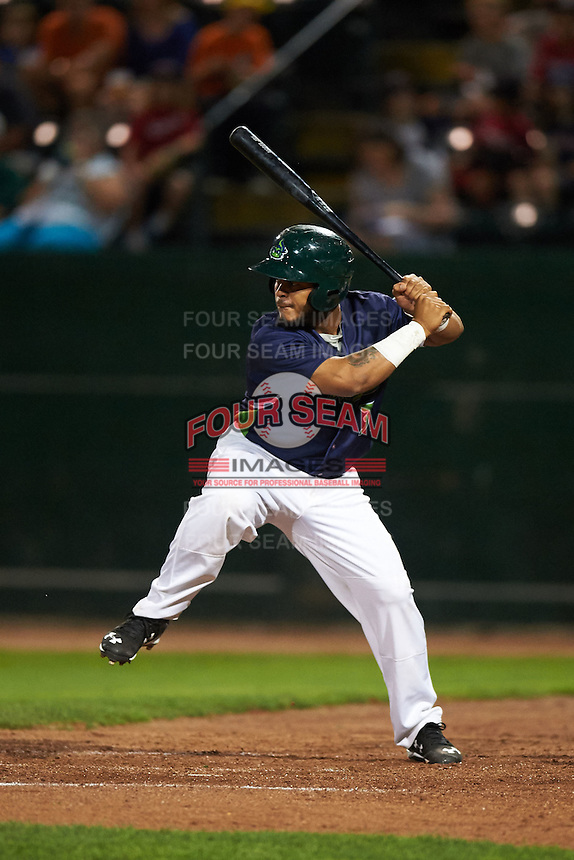 Vermont Lake Monsters designated hitter Vicmal De La Cruz (3) at bat during a game against the Hudson Valley Renegades on September 3, 2015 at Centennial Field in Burlington, Vermont.  Vermont defeated Hudson Valley 4-1.  (Mike Janes/Four Seam Images)