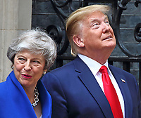 Prime Minister Theresa May, US President Donald Trump outside No 10 Downing Street on the second day of the State Visit to the UK. June 4th 2019<br /> CAP/ROS<br /> ©ROS/Capital Pictures