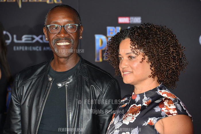 Don Cheadle &amp; Bridgid Coulter at the world premiere for &quot;Black Panther&quot; at the Dolby Theatre, Hollywood, USA 29 Jan. 2018<br /> Picture: Paul Smith/Featureflash/SilverHub 0208 004 5359 sales@silverhubmedia.com