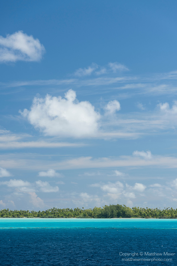 Toau Atoll, Tuamotu Archipelago, French Polynesia; view of the shallow turquoise blue water inside Toau Atoll