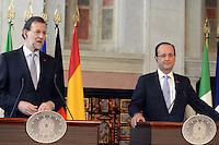 Roma, 22 Giugno 2012.Villa Madama.Vertice quadrilaterale su Eurozona con i leader di Italia, Francia, Germania e Spagna.Mariano Rajoy Francois Hollande.