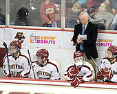 Destry Straight (BC - 17), Kevin Hayes (BC - 12), Pat Mullane (BC - 11), Jerry York (BC - Head Coach), Johnny Gaudreau (BC - 13) - The Boston College Eagles defeated the Merrimack College Warriors 4-2 to give Head Coach Jerry York his 900th collegiate win on Friday, February 17, 2012, at Kelley Rink at Conte Forum in Chestnut Hill, Massachusetts.