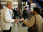 2005, Lone Dutch populist politician Geert Wilders hands out publicity material during a political rally in Eindhoven, photo Michael Kooren