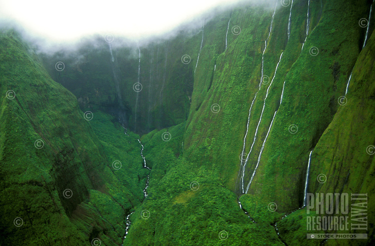 Numerous waterfalls streaming down Waialeale crater, the wettest spot on earth, island of Kauai