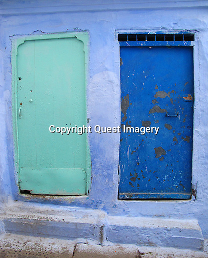 Doors of Tangier and Chefchaouen Morocco. Each door throughout Morocco is unique in color, shape, design and adornment.<br />