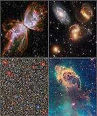 "Washington, DC - September 9, 2009 -- The National Aeronautics and Space Administration's (NASA) Hubble Space Telescope is back in business, ready to uncover new worlds, peer ever deeper into space, and even map the invisible backbone of the universe. The first snapshots from the refurbished Hubble showcase the 19-year-old telescope's new vision. Topping the list of exciting new views are colorful multi-wavelength pictures of far-flung galaxies, a densely packed star cluster, an eerie ""pillar of creation,"" and a ""butterfly"" nebula. With its new imaging camera, Hubble can view galaxies, star clusters, and other objects across a wide swath of the electromagnetic spectrum, from ultraviolet to near-infrared light. A new spectrograph slices across billions of light-years to map the filamentary structure of the universe and trace the distribution of elements that are fundamental to life. The telescope's new instruments also are more sensitive to light and can observe in ways that are significantly more efficient and require less observing time than previous generations of Hubble instruments. NASA astronauts installed the new instruments during the space shuttle servicing mission in May 2009. Besides adding the instruments, the astronauts also completed a dizzying list of other chores that included performing unprecedented repairs on two other science instruments..Credit: NASA, ESA, and the Hubble SM4 ERO Team via CNP"