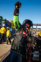 Oct 29, 2017; Las Vegas, NV, USA; NHRA top fuel driver Terry McMillen celebrates after winning the Toyota National at The Strip at Las Vegas Motor Speedway. Mandatory Credit: Mark J. Rebilas-USA TODAY Sports