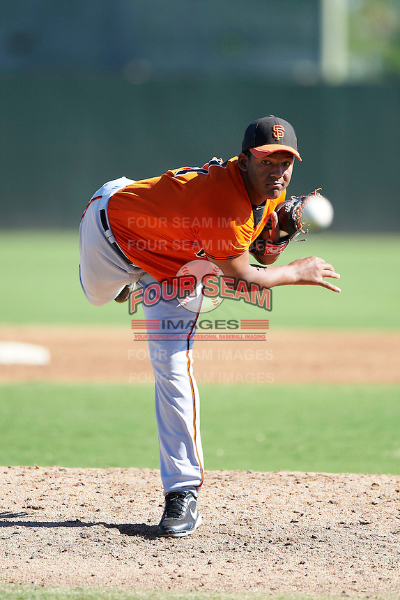 San Francisco Giants minor league pitcher Keury Mella #71 during an instructional league game against the Oakland Athletics at the Papago Park Baseball Complex on October 17, 2012 in Phoenix, Arizona. (Mike Janes/Four Seam Images)