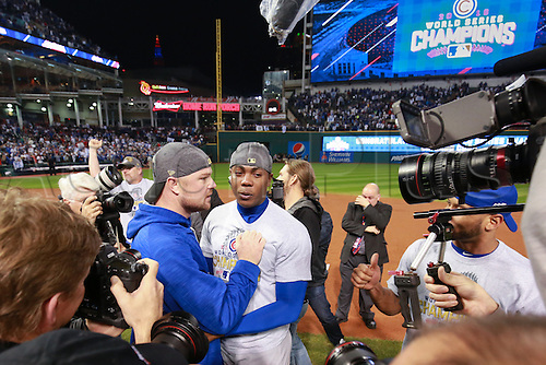 02.11.2016. Cleveland, OH, USA.  Chicago Cubs starting pitcher Jon Lester (34) and Chicago Cubs relief pitcher Aroldis Chapman (54) celebrate after winning game 7 of the 2016 World Series against the Chicago Cubs and the Cleveland Indians at Progressive Field in Cleveland, OH. Chicago defeated Cleveland 8-7 in 10 innings.