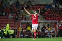 Raphael Rossi Branco of Swindon Town celebrates scoring his goal 1 0 during the The Checkatrade Trophy match between Swindon Town and Chelsea U23 at the County Ground, Swindon, England on 13 September 2016. Photo by Andy Rowland.