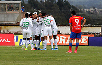 IPIALES-COLOMBIA, 21-09-2019: Jugadores de Atlético Nacional, celebran el gol segundo anotado a Deportivo Pasto, durante partido de la fecha 12 entre Deportivo Pasto y Atlético Nacional por la Liga Águila II 2019  jugado en el estadio Municipal de Ipiales de la Ciudad de Ipiales. / Players of Atletico Nacional, celebrate the second scored goal to Deportivo Pasto, during a match of the 12th date between Deportivo Pasto and Atletico Nacional for the Aguila Leguaje II 2019 played at the Municipal de Ipiales stadium in Ipiales city. Photo: VizzorImage / Leonardo Castro / Cont.