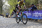 Maarten Wynants (BEL) Team Jumbo-Visma rider on the the first ascent of the Kemmelberg during the 2019 Gent-Wevelgem in Flanders Fields running 252km from Deinze to Wevelgem, Belgium. 31st March 2019.<br /> Picture: Eoin Clarke | Cyclefile<br /> <br /> All photos usage must carry mandatory copyright credit (© Cyclefile | Eoin Clarke)