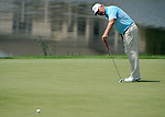 BLAINE, MN - AUGUST 02: Hale Irwin reacts to missing a putt on the ninth hole during the second round of the 3M Championship at TPC Twin Cities on August 2, 2014 in Blaine, Minnesota.  (Photo by Steve Dykes/Getty Images) *** Local Caption *** Hale Irwin
