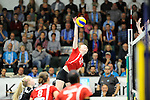 Rüsselsheim, Germany, April 13: Jennifer Geerties #15 of the Rote Raben Vilsbiburg spikes the ball during play off Game 1 in the best of three series in the semifinal of the DVL (Deutsche Volleyball-Bundesliga Damen) season 2013/2014 between the VC Wiesbaden and the Rote Raben Vilsbiburg on April 13, 2014 at Grosssporthalle in Rüsselsheim, Germany. Final score 0:3 (Photo by Dirk Markgraf / www.265-images.com) *** Local caption ***