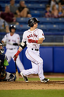 Salem Red Sox second baseman Brett Netzer (13) follows through on a swing during a game against the Lynchburg Hillcats on May 10, 2018 at Haley Toyota Field in Salem, Virginia.  Lynchburg defeated Salem 11-5.  (Mike Janes/Four Seam Images)