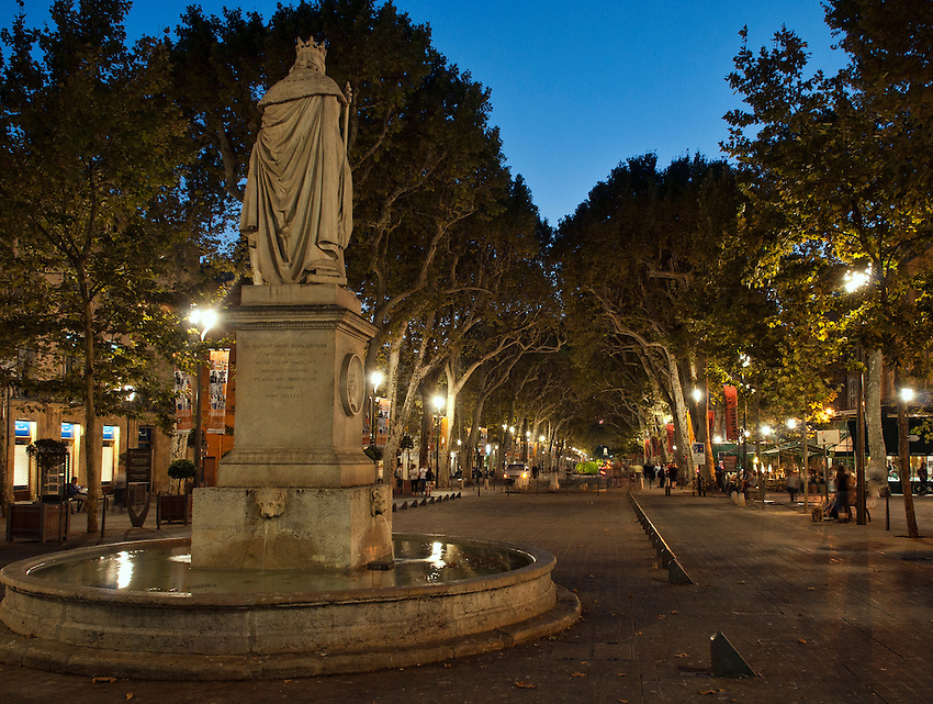 "A view of the Cours Mirabeau in Aix-en-Provence during the ""blue hour"" after sunset, from the fountain of the Good King Rene."